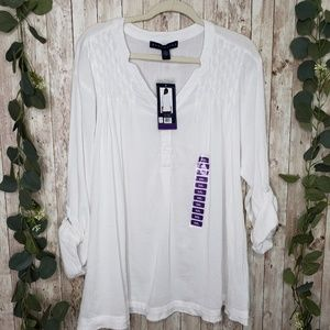 Bandolino | White Light Cotton Top Sz XXL